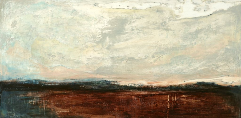 Land and Sky, 120 x 56cm ink and gesso on board 2015-min